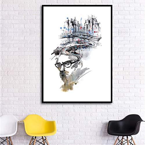 zxkx Leinwand Malerei Baum Regen Brille Zitate Kaktus Mädchen Wand Kunstdruck Nordic Aquarell Poster Wandbild für Wohnzimmer 40x50 cm