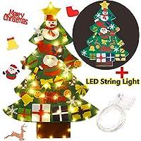 FunPa Feltro Albero Natale, 3.28ft della Feltolta di DIY con 50 LED Catene Luminose 30 Ornamenti Staccabili Regali di Natale di Nuovo Anno per la Decorazione della Parete del Portello dei Bambini