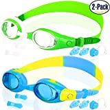 COOLOO 2-PACK Kids Swimming Goggles Junior Children Girls Boys Early Teens Age 3 - 15, with Anti-Fog, Waterproof, UV Protection