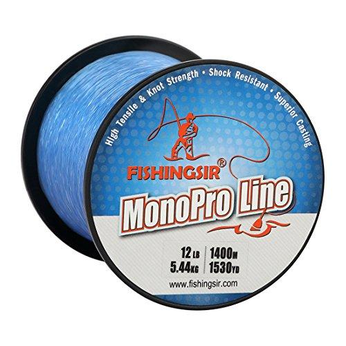 FISHINGSIR High Impact Monofile Angelschnüre für Bass Forellen Karpfen Lachs Salmon Wels, Blau (Premium-monofile Angelschnur)