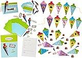 Bastelset: 3-D Einladungskarten + Tischkarten + Girlande - Schultüte - Karten gestalten für Jungen & Mädchen - z.B. für Schulanfang / Schulbeginn - Einladung Karte Schuleinführung Schule Geburtstag - Zuckertüten Scrapbooking
