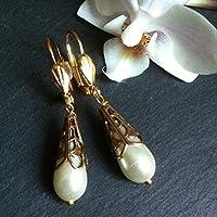 Ohrringe Perlen weiß Tropfen im Art Déco Stil Jugendstil vergoldet