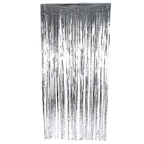 Preisvergleich Produktbild FTVOGUE Folien-Vorhänge Lametta Metallic Foto Hintergrund für Hochzeit Geburtstag Bühne Party Decor Vorhänge,  Silber,  2 m