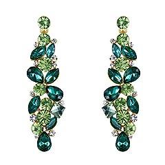 Idea Regalo - EVER FAITH® Strappare colore fiore goccia Cluster ciondola gli orecchini smeraldo maggio Birthstone Gold-Tone