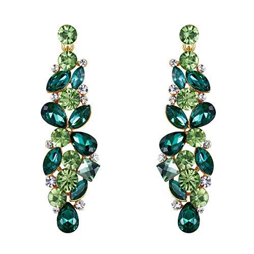 EVER FAITH® Strappare colore fiore goccia Cluster ciondola gli orecchini smeraldo maggio Birthstone Gold-Tone