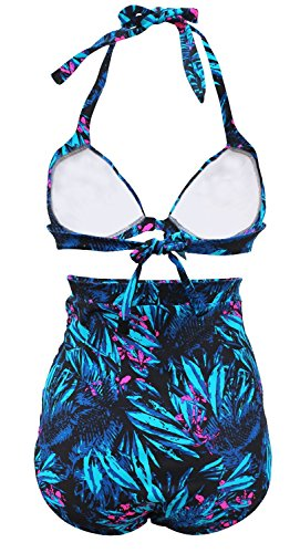 Gigileer 51's Damen Frauen Badeanzug Bademode Bikini Set -Hohe Taillen-bauchweg plus Size S -