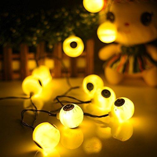 Solar-Garten Kugel Licht, AntEuro 10 LED Sonnenenergie-Augen-feenhafte Schnur-Licht / sternenklares Licht für im Freien, Haus, Patio, Garten, Danksagung, Weihnachten (Warmweiß)
