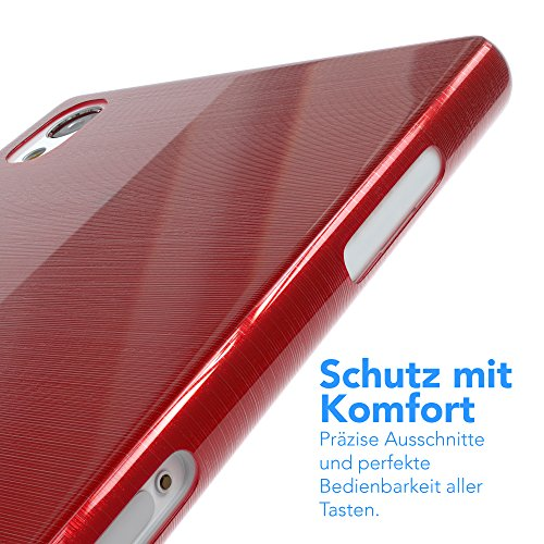"""Sony Xperia Z Hülle - Hülle, EAZY CASE Slimcover """"Clear"""" Handyhülle - Schutzhülle als Smartphone Case in Schwarz / Anthrazit Brushed Rot"""