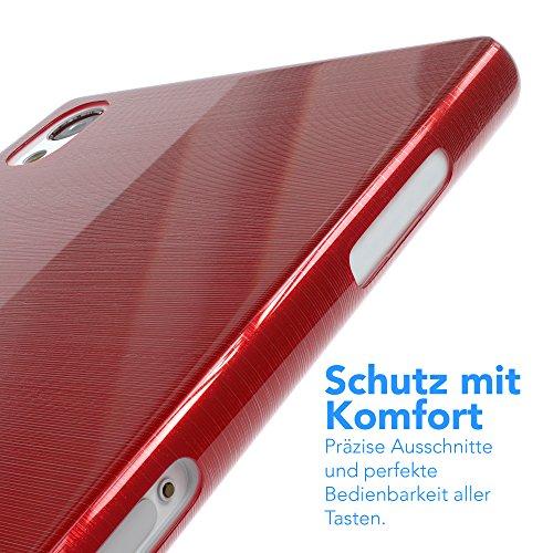 "EAZY CASE Handyhülle für Sony Xperia Z2 Hülle - Premium Handy Schutzhülle Slimcover ""Clear"" hochwertig und kratzfest - Transparentes Silikon Backcover in Gold Brushed Rot"