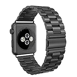 Reteck Apple Watch Strap 42mm, Stainless Steel Apple Watch Band Replacement Strap 42mm For Apple Watch Series 3 Series 2 Series 1-black