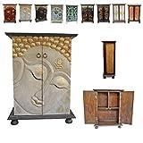 Schrank mit Buddha Motiv Kommode Flurschrank Rattan 90 cm Creme/Weiß Gold