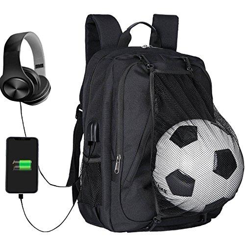 Zaino per laptop, borsa per zaino universitario con rete da calcio, zaino da viaggio per studenti per ragazze, zaini compuetr per scuola superiore con porta di ricarica usb per uomo donna