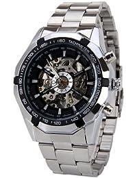 Winner - Reloj Mecánico de Pulsera de Hombre Masculino, Esqueleto Acero Inoxidable Impermeable, Plateado