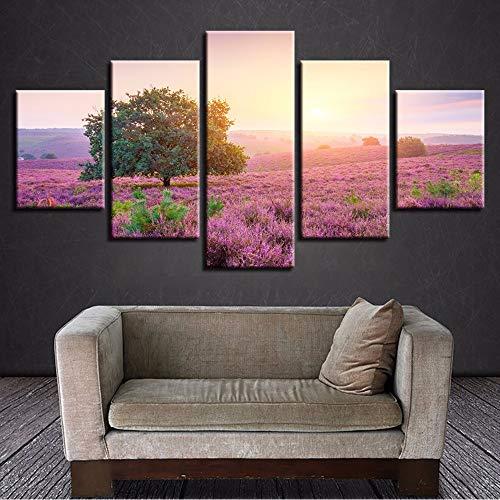 Moderne Drucke 5 Stück Lila Lavendel Blumen Meer Bilder Baum Sonnenschein Landschaft Modulare Gemälde 20x35/45/55cm,no frame ()