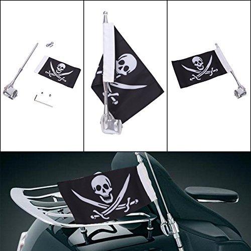 Motorrad Flagge Pole Mount und Totenkopf Flagge für Honda Yamaha Harley - Motorrad Fahne Honda