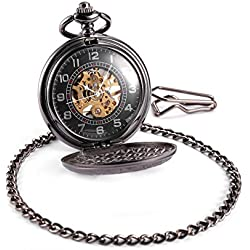 AMPM24 Mens Skeleton Mechanical Black Pocket Watch Chain Fob Gift + AMPM24 Gift Box WPK015
