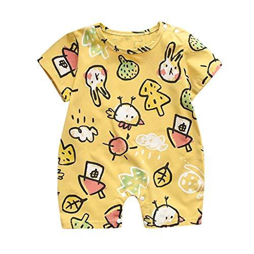 jerferr Säugling Strampler Sommer-Säuglings-Kurzarm-Karikatur-Druck-Bodysuit-Spielanzug-Kleidung