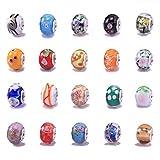 20 Mixed Murano Lampwork Glass Beads - fits Pandora Style Charm Bracelets (Core size 5mm)