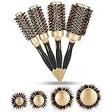 4 en 1 brosses rondes pour séchage par brushing professionnel anion anti-statique grandes brosses à cheveux salon de coiffure peigne or et noir (4 x brosse à cheveux)