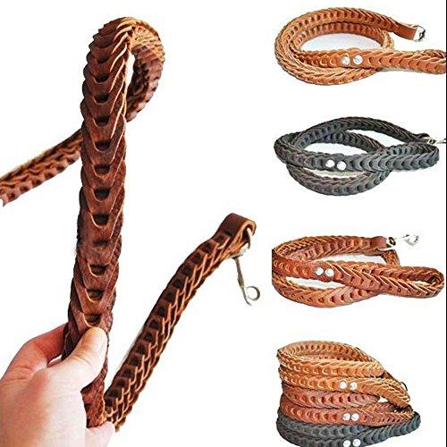 Saflyse Geflochtene Stitching Leder Hundeleine leine f. große Hunde zufällige Farbe (Schwarz, braun und Dunkelbraun )