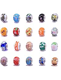 20 Mixed Murano Lampwork Glass Beads - fits Pandor Style Charm Bracelets (Core size 5mm