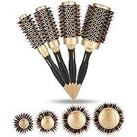 Cepillos Redondos 4pcs/Kit para cabello Peluquería soplo profesional Anion antiestático de pelo Peine Peinado