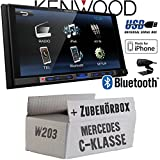 Mercedes C-Klasse W203 - Kenwood DMX100BT - 2DIN Bluetooth | USB | MP3 | 7' TFT Autoradio - Einbauset