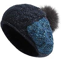 Sombrero-otoño Boina Tejida a Mano Gran Cabeza Circunferencia Invierno Tejido Sombrero Presionado Volver Gorra Cabello Desmontable (Azul Marino) (Color : Marina)