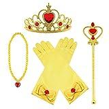 Vicloon Princesa Vestir Accesorios 4 Pcs Regalo Conjunto de belleza corona Sceptre Collar Pendientes Guantes para Niña (Amarillo)