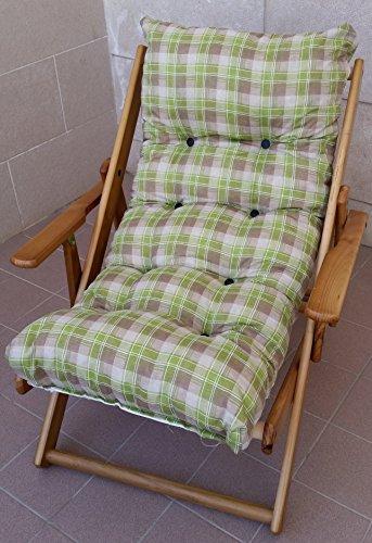 Poltrona sedia sdraio relax 3 posizioni in legno pieghevole cuscino imbottito h 100 cm soggiorno cucina salone divano armchair sofa' (verde quadri)
