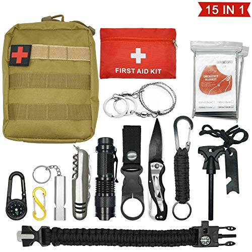 Abida Survival Kit, 15 in 1 Outdoor Emergency Survival Kit mit Survival-Decke, Klappmesser, Feuerstarter, Tactical Pen, Taktische Taschenlampe zum Wandern, Camping, Reisen (mit Benutzerhandbuch)