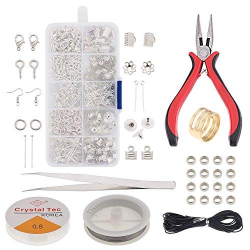 Schmuck-Herstellung Jewelry Making-Kit Schmuck Reparatur Zange Werkzeug mit Jewelry Ergebnisse Kit. aufreihmaterialien Kordel Jump Ringe und Hummer Verschlüsse, Perlen für Schmuckherstellung rot