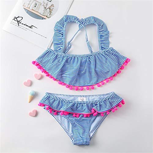 ZXCVBW Mädchen Badebekleidung 3 bis 13 Jahre Kinder Badeanzug Twe Stück Sommer Kinder Bikini Anzug blau gestreiften Mädchen Bademode, Blau, 10Y -