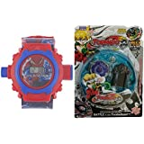 HickoryDickoryBox Combo Of Spider Man Projector Watch For Kids And Tornado Beyblade | Beyblades Fighter With Fight Ring And Handle Launcher - Multi Color