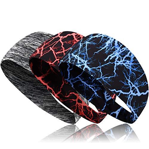 Sport Stirnbänder für Männer, Frauen, 3Pcs Athletic Head Schweißband, Rutschfeste & Feuchtigkeitstransport, elastisches Yoga Stirnband Haarband zum Laufen,...