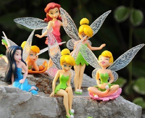 6 DISNEY TINKERBELL FAIRIES FIGURES DISPLAY CAKE TOPPER TOY BRAND NEW 5 INCHES