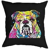Bulldogge - Kissenbezug - Hunde Neon Pop Art Motiv - The Bulldog - buntes Hunde Portrait - Motiv Kissenhülle Deko 40x40cm schwarz : )