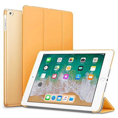 Robustrion Smart Slim Trifold Hard Back Flip Stand Case Cover for New iPad 9.7 inch 2018/2017 6th/5th Generation (Orange)