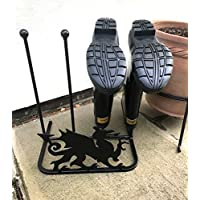 Poppy Forge Unique Welsh Dragon Design Wellington Boot Rack for two pairs