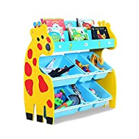 Aszhdfihas-home Colourful Wood Sling Book Display Storage Rack Animal Shape Cute Kid Bookcase 3 Tier Bookshelf With Toy Organizer (Color : Blue, Size : 80x30x83cm)
