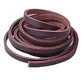 Xiazw Leder Schnürsenkel Ledersenkel Lederriemen für Bootsschuhe Arbeitsstiefel,Ein Paar (Dunkelbraun)