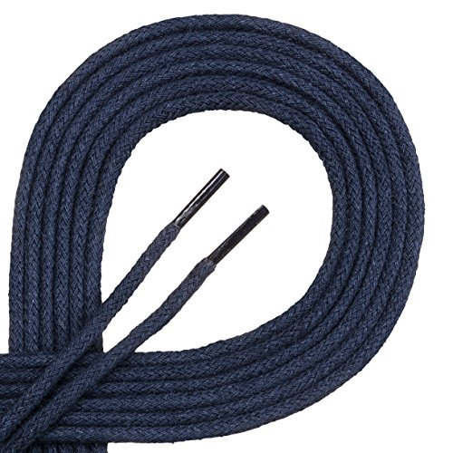 Lacets corde Di Ficchiano-rond-Ø 3mm-4mm - Bleu - bleu foncé, 80 cm