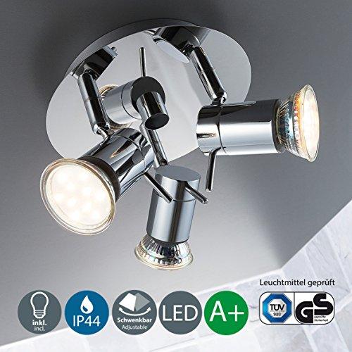 Plafonnier avec spots led pivotants I luminaire moderne I eclairage intérieur I lumière blanche chaude I lampe pour salle de bain I 230 V I IP44 I 3 x 3 W GU10