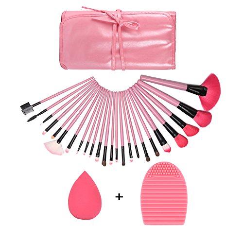 GUSODOR Ensemble de pinceau de maquillage 24Pcs Ensemble de pinceaux de maquillage ensemble cosmétique multifonction pour la poudre et les produits cosmétiques-Rose