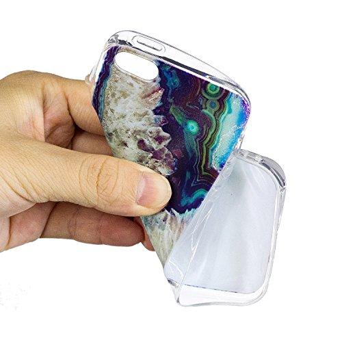 Custodia Cover iPhone 5/5S/SE Silicone Morbido,Ukayfe Ultra Slim Protezione Corpeture Case per iPhone 5/5S/SE in Gel TPU con Creativo Bella Pittura Disegno Acqua di Mare ,Soft Protettiva Custodia Bril Onde 1#