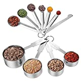 Measuring Cups & Messlöffel mit Meßlineal Set (11 PCS), Apicallife Edelstahl Messbecher Messlöffel Für Trockene und Flüssige Zutaten, Silber