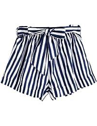 Pantalones cortos sueltos de la raya del verano de las mujeres Pantalones cortos cortos de la playa de la señora Summer…