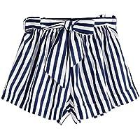 Pantalones cortos sueltos de la raya del verano de las mujeres Pantalones cortos cortos de la playa de la señora Summer pantalones cortos mujer★Longra
