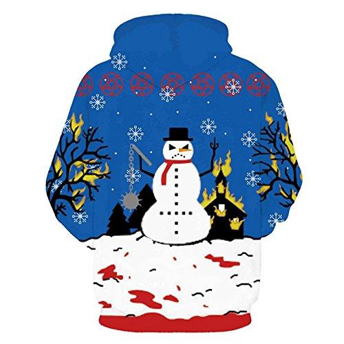 iBaste Felpa con cappuccio pullover felpa Maglione con cappuccio modaStampa digitale Schneemann Blu