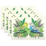 SENNSEE Animal Wellensittich Vögel in Blättern Tisch-Sets Home Teller Fußmatte Esstisch hitzebeständig Küche Tisch Matte 30,5x 45,7cm, Polyester, Mehrfarbig, 1 Stück